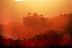 La ciudad perdida profundamente en la escena 3D de la fantasía de la selva rinde 1 stock de ilustración