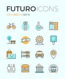 La ciudad se opone la línea iconos del futuro libre illustration