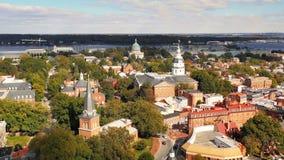 La ciudad soñolienta del capital de Annapolis de Maryland almacen de video