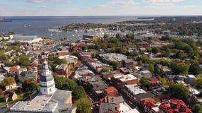 La ciudad soñolienta del capital de Annapolis de Maryland almacen de metraje de vídeo