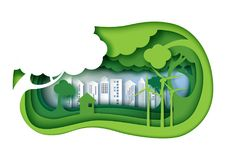 La ciudad urbana amistosa del eco verde con capa del papel 3d cortó n abstracta Libre Illustration