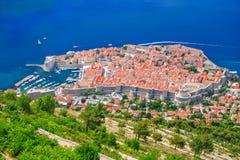 La ciudad vieja de Dubrovnik, Croacia desde arriba Imágenes de archivo libres de regalías