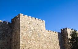 La ciudad vieja de Jerusalén rodeó por la pared cerca de la puerta de Jaffa fotografía de archivo libre de regalías