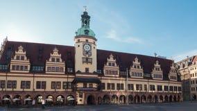 La ciudad vieja Hall Leipzig es uno de los ejemplos excepcionales de la arquitectura alemana del renacimiento Timelapse en el mov almacen de metraje de vídeo
