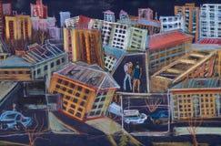 Gente y una ciudad stock de ilustración