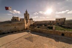 La ciudadela de Gozo en la puesta del sol malta imágenes de archivo libres de regalías