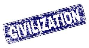 La CIVILIZACIÓN rasguñada enmarcó el sello redondeado del rectángulo stock de ilustración