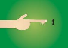 La clé à la réussite et au contrat à terme est dans votre propre main. Image libre de droits