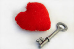 La clé au coeur Images libres de droits