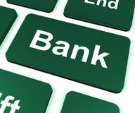 La clé de banque montre en ligne ou des opérations bancaires d'Internet Photo libre de droits