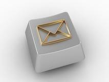 La clé de clavier avec de l'or enveloppent le signe. Photo libre de droits