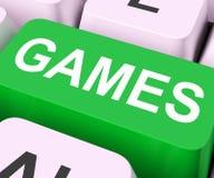 La clé de jeux montre le jeu en ligne ou le jeu Photos libres de droits