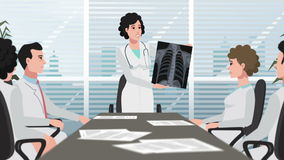 La clínica/la mujer de la historieta muestra la radiografía del pecho almacen de video
