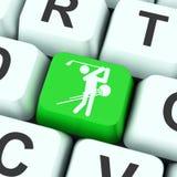 La clé de golf signifie le club ou jouer au golf de golfeur Photos libres de droits