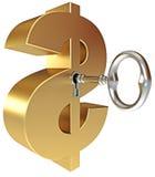 La clé ouvre un signe du dollar Photo stock