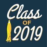 La classe de 2019 félicitations reçoivent un diplôme la typographie avec des étoiles et Photo libre de droits