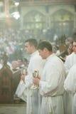 La classificazione di 15 Seminarians dentro al Deaconate all'istituto universitario di Mynooth il 1° giugno 2014 Fotografia Stock