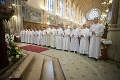 La classificazione di 15 Seminarians dentro al Deaconate all'istituto universitario di Mynooth il 1° giugno 2014 Immagine Stock Libera da Diritti