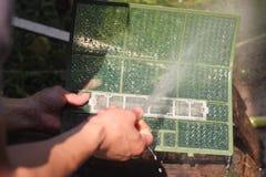 La climatisation filtre le nettoyage photographie stock libre de droits