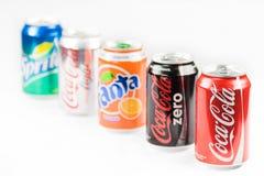 La coca-cola, zero, luce, Sprite beve Immagine Stock