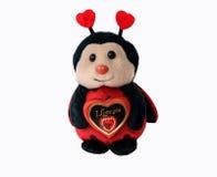 La coccinelle mignonne de jouet tient le coeur rouge de chocolat avec le texte Photo stock