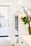 La cocina de la casa de lujo y hermosa con con las flores guardó adentro Imágenes de archivo libres de regalías