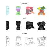 La cocina, el refresco, el restaurante y el otro icono del web en la historieta, negro, estilo del esquema botones, números, icon Foto de archivo