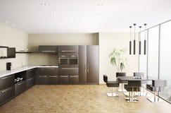 La cocina moderna 3d interior rinde Foto de archivo