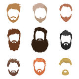La coiffure des hommes à la mode, barbe, visage, cheveux, masques de coupe-circuit, une collection d'icônes plates Photo stock