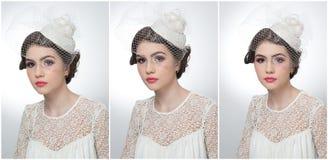 La coiffure et composent - le beau portrait d'art de jeune fille Brune mignonne avec le chapeau et le voile blancs, tir de studio Photos stock