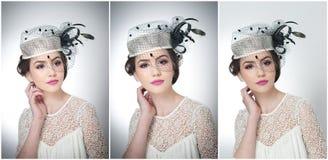 La coiffure et composent - le beau portrait d'art de jeune fille Brune mignonne avec le chapeau et le voile blancs, tir de studio photographie stock