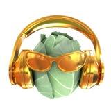 """La col verde con el vidrio de sol y los auriculares afrontan \ """"cara \"""" en un wh libre illustration"""