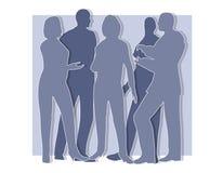 La colaboración siluetea el azul Foto de archivo libre de regalías