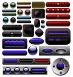 La colección azul del botón de Digitaces del carbón stock de ilustración