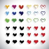 La colección colorida de los iconos del corazón del diseño plano fijó - el gráfico de vector Fotografía de archivo