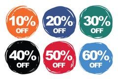 La colección colorida del descuento de los símbolos fijó el 10% apagado, el 20% apagado, el 30% o Imagen de archivo