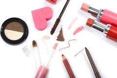 La colección colorida del maquillaje aisló Imágenes de archivo libres de regalías