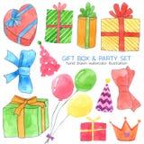 La colección de la acuarela de la caja y del partido de regalo en el fondo blanco, mano dibujada para los niños, tarjeta de felic ilustración del vector