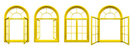 La colección de amarillo arqueó las ventanas aisladas en blanco Imagenes de archivo