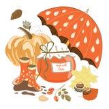 La colección de artículos del otoño le gusta el tarro de la mermelada, Fotografía de archivo libre de regalías
