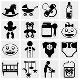 Bebé y sistema recién nacido del icono del vector Foto de archivo libre de regalías
