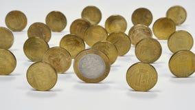 La colección de ciudades de las monedas de Rusia Imágenes de archivo libres de regalías