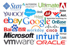 La colección de compañías populares de Internet imprimió en el papel