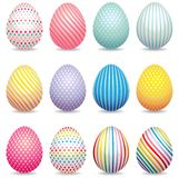 La colección de 3d adornó los huevos de Pascua ilustración del vector
