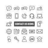 La colección de esquema nos entra en contacto con los iconos Iconos finos para el web, apps móviles Imagen de archivo