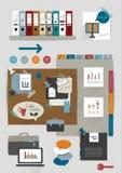 La colección de etiquetas engomadas de papel coloridas planas, carpetas, post-it, burbujas fijó, los iconos Fotografía de archivo libre de regalías