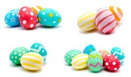 La colección de fotos perfecciona isola hecho a mano colorido de los huevos de Pascua Foto de archivo