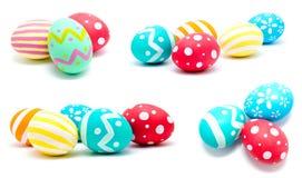 La colección de fotos perfecciona isola hecho a mano colorido de los huevos de Pascua Foto de archivo libre de regalías