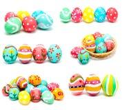 La colección de fotos perfecciona los huevos de Pascua hechos a mano coloridos Fotos de archivo