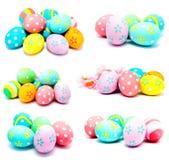 La colección de fotos perfecciona los huevos de Pascua hechos a mano coloridos Foto de archivo